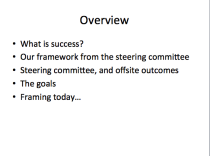 An overview slide. Usually the second slide in my presentations, and there to outline the structure of the talk