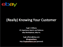 An example title slide with talk title, my name, company  and contact information