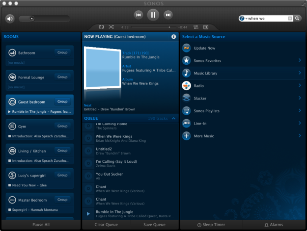 The Sonos Mac OS X application. Very similar to the Sonos iPad app. On the left are rooms, on the right are sounds sources.