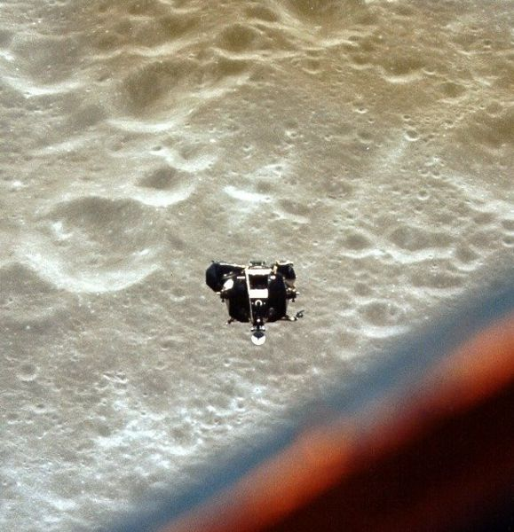 The Apollo 10 lunar module Snoopy returns from almost landing on the moon