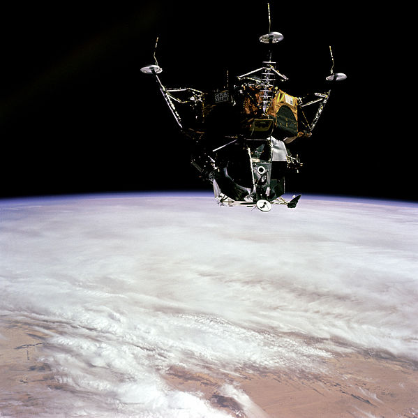 Testing the Apollo 9 lunar module Spider in earth orbit