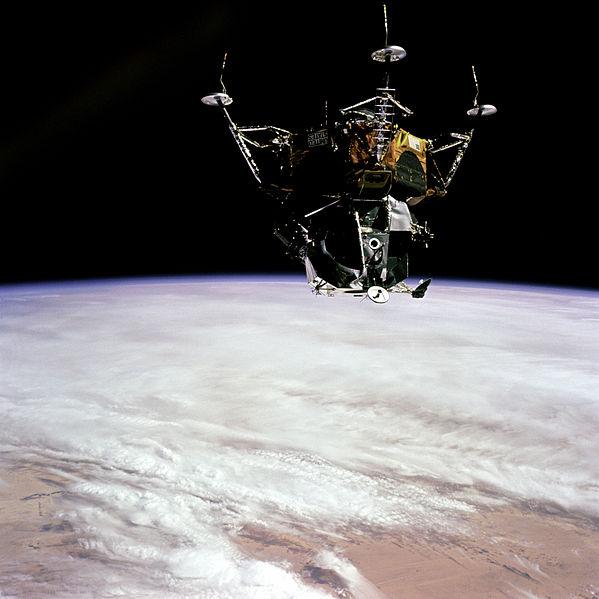 Testing the Apollo 9 lunar module Spider in earth orbit