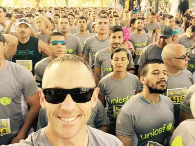 One US-stralian in a sea of Argentinians before the start of a 10k race in Buenos Aires